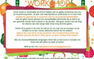 Nieuwe kookworkshop op 1 oktober!